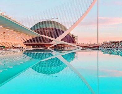 coucher de soleil sur la Cité des Arts et des Sciences à Valence