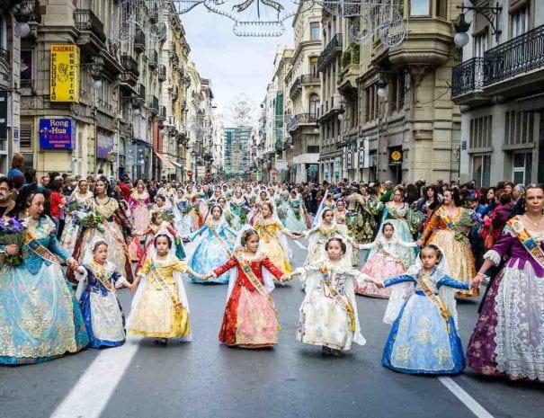 Girls-falleras-in-street-Fallas-Festival-Valencia-Spain