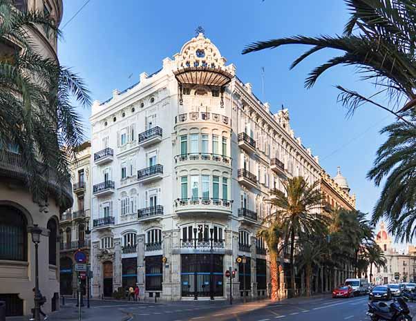 Front facade of One Shot Palacio Reina Victoria hotel in Valencia in Spain