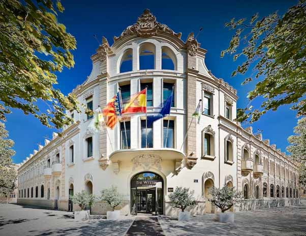 Outside entrance of Westin Valencia in Spain
