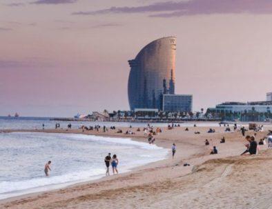 Barceloneta beach and hotel vela in Barcelona