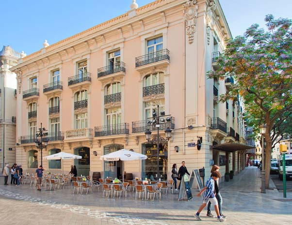 Front facade and terrace of SH Ingles Boutique hotel in Valencia in Spain