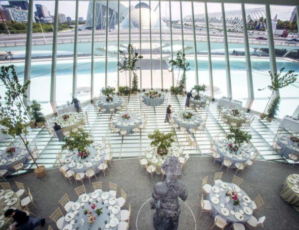 Corporate event with a view at the City of Arts and Sciences in Valencia in Spain