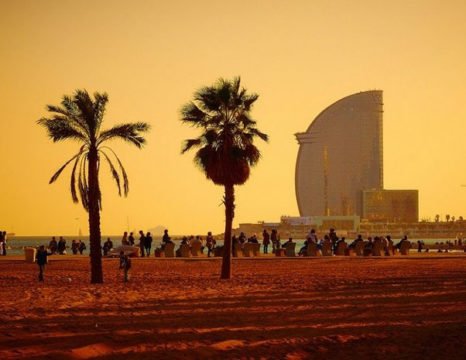 Sunset in Barceloneta beach in Barcelona