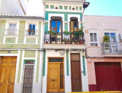 Colorful street in Valencia in Spain