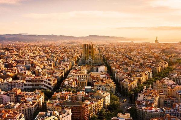 Barcelona sky view sunset