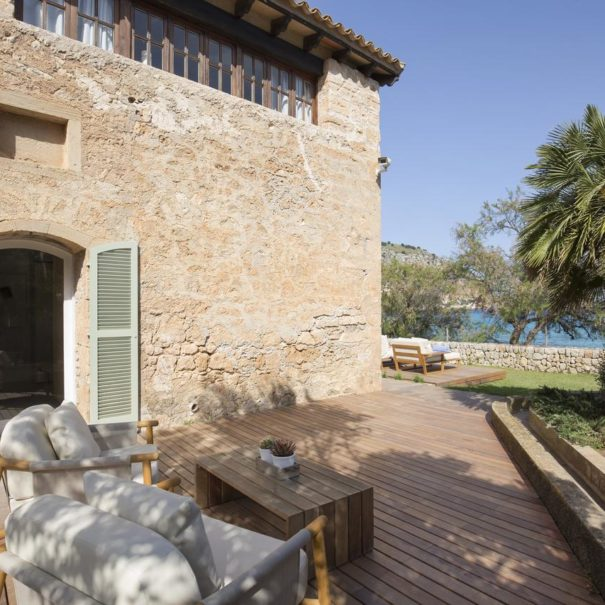 Private terrace in an ancient building of Can Simoneta hotel in Mallorca