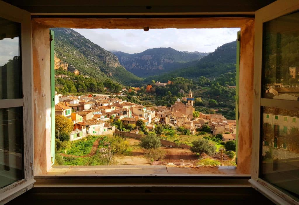Window view village Mallorca
