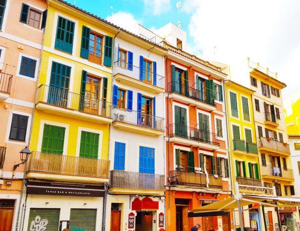 Colorful houses in Palma de Mallorca