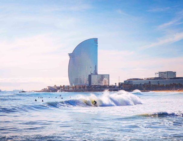 Barcelona beach thanks Person Surfing