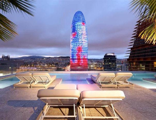 SB Glow hotel rooftop view over Glories tower in Barcelona