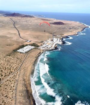 Paragliding flight in Lanzarote in the Canary Islands
