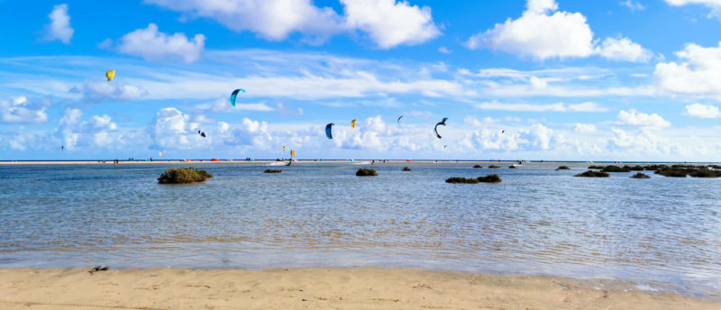 Kitesurfing in the lagoon of Sotavento in Fuerteventura in the Canary Islands