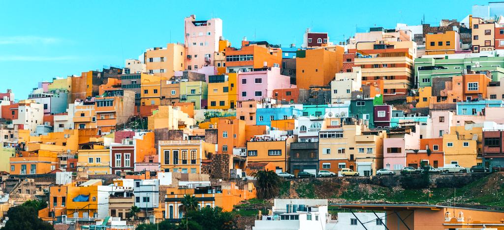 Casas de colores en Las Palmas, Gran Canaria