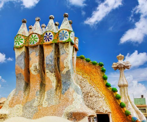 BARCELONA, SPAIN - SEPT  04, 2014: Roof, housetop  Gaudi's  creation-house Casa Batlo. The building that is now Casa Batllo was built in 1877 by Antoni Gaudi, and now commissioned by Lluis Sala Sanchez. September 04, 2014 in Barcelona, Spain.