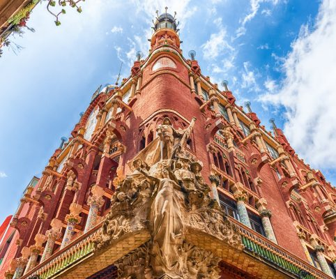 Sculptural group on the corner of the Palau de la Musica Catalana, modernist Concert Hall and UNESCO World Heritage Site in Barcelona, Catalonia, Spain