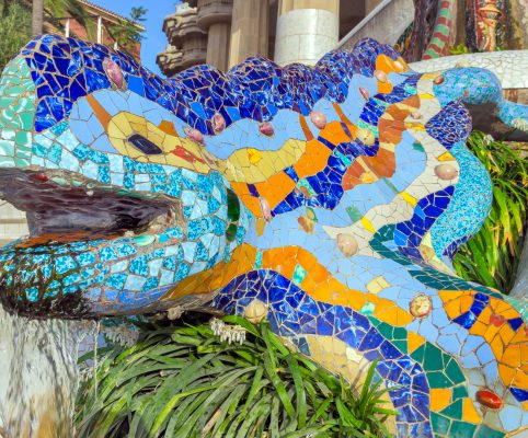 Mosaic sculpture at the Parc Guell designed by Antoni Gaudi located on Carmel Hill, Barcelona, Spain.